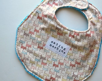 Chow Bebe Bib--Scottie Dog Print with an upcycled terry back