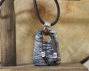 Men's Black and White Suede Cord Necklace, Masculine Jewelry, Men's Necklace, Leather Cord, Picasso Jasper Necklace, Black and Brown