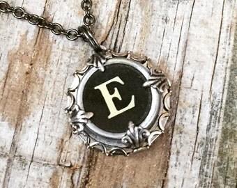 Bridesmaid Necklace, Monogram Necklace, Initial Necklace, Vintage Wedding Idea, Letter E Necklace, Typewriter Key Jewelry, Bridal Jewelry