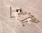 7mm x 1mm Sterling Silver Stud Earrings Modern Stud Earrings Skinny Ear Bar Earrings Minimalist Studs by Susan Sarantos