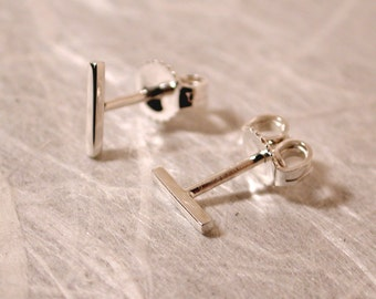 7mm x 1mm Solid Sterling Silver Earrings Modern Stud Earrings Skinny Ear Bar Earrings Minimalist Studs by Susan SARANTOS