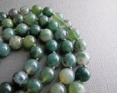 Moss Agate Necklace, Long Hand Knotted Necklace, Green Gemstone Necklace