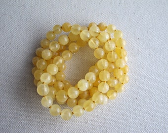 Butter. Long Yellow Calcite Necklace, Hand Knotted Necklace