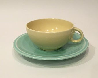 Mismatch Yellow Cup and Green Saucer Vernon Kilns Cup and Saucer Set ~ Vernon Kilns Cup and Saucer ~ California Pottery Cup and Saucer