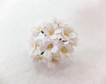 10 20mm white paper cherry blossoms - white paper flowers - 2cm white flower - mulberry paper cherry blossom