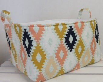 Diaper Caddy - Fabric Organizer Storage Bin Basket - with 2 Dividers - Agave Field - Arizona Collection - April Rhodes Fabric