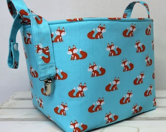 "Storage and Organization - Fabric Container Organizer Bin Basket - 8"" x 8"" x 8"" - Cute Foxes on Blue - Pacifier Clip Included"
