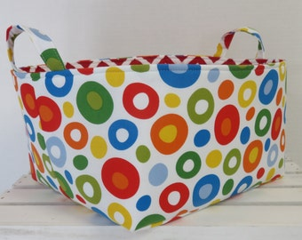 """Fabric Organizer Bin Toy Storage Container Basket - Made with Licensed Dr. Seuss Celebration Circles Fabric - 12"""" x 10"""" x 7"""" tall"""