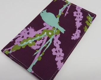 SAMPLE SALE - Checkbook Cover - Mint Green Aviary Bird on Purple Joel Dewberry Fabric