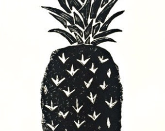 "pineapple - linoleum block print - hand printed 9""x12"" wall art"
