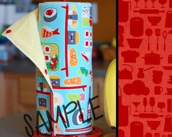 Unpaper Towel | Reusable Paper Towel - Red Kitchen (0433580) Tree Saver Towel | Kitchen Towel | Snapping Cloth Paperless Towel & Wet Bag