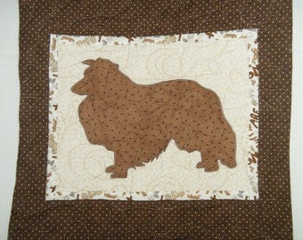 SHELTIE - Quilted Dog throw pillow 16 inches