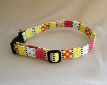 Stripes and checks yellow rose - Dog Collar