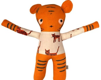 Linen Tiger Soft Toy - Hand painted & Embroidered