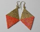 Beaded Diamond Gold and Orange Earrings