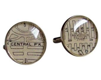 Central Park & Rockefeller Plaza Cufflinks Sterling Silver Destination: New York Free Shipping