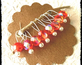 Snag Free Stitch Markers Small Set of 8 - Orange Faceted Glass Glass - K30 - Up to size US 8 (5.0mm) Knitting Needles
