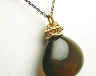 40 Carat Whiskey Quartz Wire Wrapped Pendant Necklace Mixed Metals