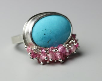 Turquoise Statement Ring with Pink Tourmaline Fringe, US size 7. December Birthstone.
