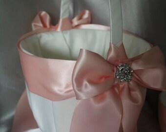 Large-White or Ivory Flower Girl Basket -Blush/Peach Satin Ribbon-Custom Ribbon Colors-Rhinestone Accent-Flower Girls Age 8+