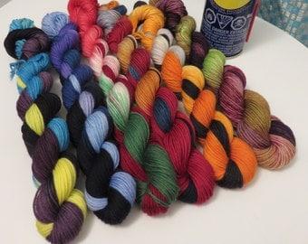 Set of Six RR Themed Hand Painted Superwash Merino and Nylon 4-Ply Sock Yarn Mini Skeins (20grams/92yds each) -- RubberNecker Set