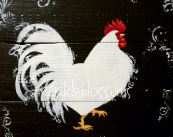 Prim and Proper white Folk Art Rooster on Black