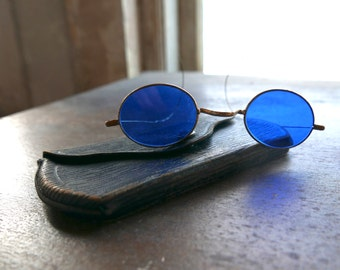 Antique Blue Sunglasses with Case