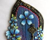 Blue Fairy Door with a Brass Key