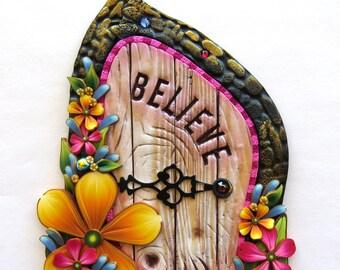 Wildflower Garden Believe Fairy Door, Miniature Pixie Portal , Home and Garden Decor, Polymer Clay Door, Tooth Fairy Entrance
