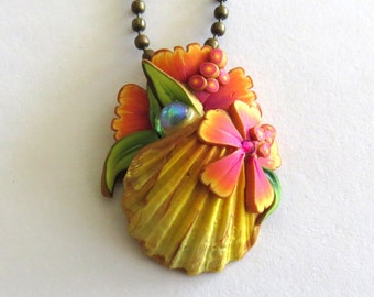 Tropical Seashell Ocean Treasure Necklace, Polymer Clay Shell Pendant, Beach Jewelry