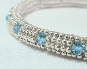 Beadwoven Soft Bangle Silver and Aquamarine Swarovski Crystals
