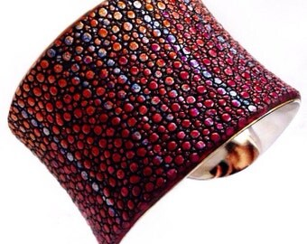 Metallic Red, Blue, and Purple Streaked Stingray Cuff Bracelet - by UNEARTHED