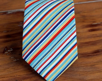 Mens Necktie - blue red navy multi stripes on cotton Neck Tie, traditional self-tying necktie for men and teens, mens necktie, wedding tie