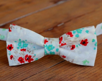 Mens Floral Bow Tie - mens flowers bow tie - gray tan bow tie - mans cotton bow tie - teen prom bow tie - father's day gift - summer wedding