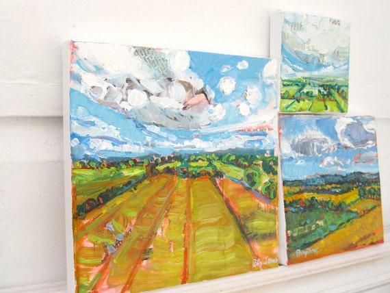 Near and Far 2, orginal acrylic landscape painting by Polly Jones
