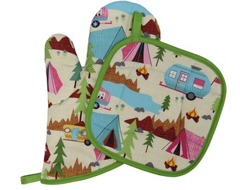 Camping Oven Mitt and Pot Holder Set