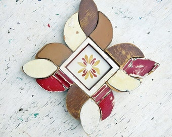 Reclaimed Wood Mosaic, Southwestern Decor, Rustic Wall Decor, Modern Rustic Decor, Mosaic Framed Talavera Tile, Salvaged Wood Decor