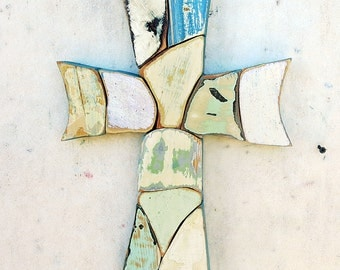 Blue Mosaic Cross, Reclaimed Wood Cross, Religious Decor,Boho Cross Christian Wall Art Wood Wall Cross Wood Wall Art Bohemian Decor