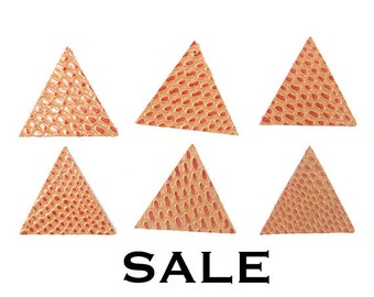 Vintage Red/Orange Triangle Leather Strips (6X) (NS524) SALE - 25% off