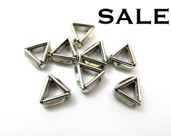 Vintage Rhodium Plated Geometric Triangle Charms (8X) (V145) SALE - 25% off