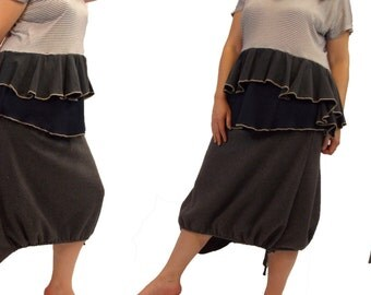 Sweater Fleece Skirt with Pocket Drawstring Asymmetric Hem