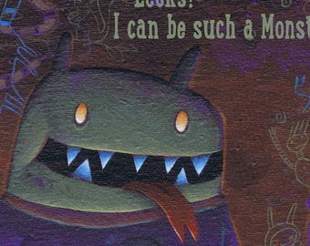 "Sorry E-Card - Please Forgive Me ecard ""Eeeks! I Can Be Such a Monster"" Whimsical Funny-Scary Monster Saying I'm Sorry - Instant Download"