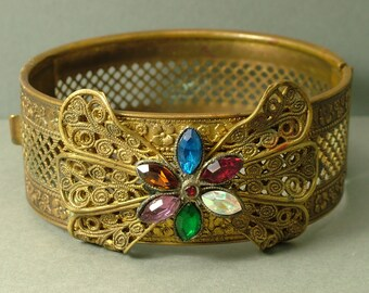 Vintage/ estate jewelry  1940s Czech style metal filigree and paste/ glass, flower costume bangle - jewellery UK seller