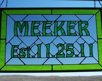 Stained Glass Window Panel, Wedding Gift For Bride and Groom, Family Established Sign, Hand Made Third Anniversary Gift