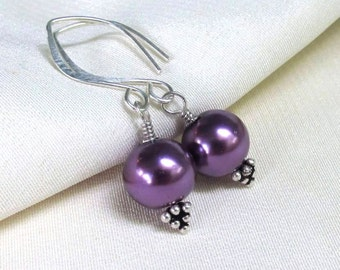 Sterling Silver Purple Pearl Earrings . Fancy Bali Triangle Headpins . Handmade Elfin Earwires . Amethyst Glass Pearl Dangles