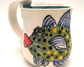 Ceramic Stoneware Mug Coffee Cup with Handpainted Fish Bluefin Trevaly Ready to Ship 12.5 ounces Wheel Thrown MG0016
