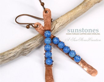 Rustic Copper Stick Earrings E900