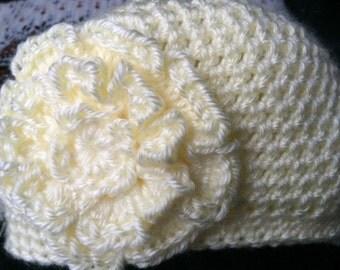 Hand crocheted newborn baby beanie