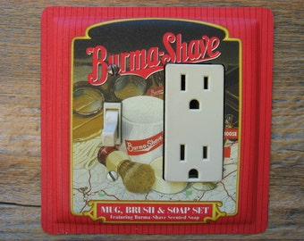 Bathroom Lighting Bath Decor Combo Light Switch GFCI Cover Rocker Switchplate Made From A Burma Shave Tin Tins GFC-3093C-L