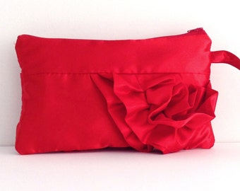 Red Satin Curve Ruffled Clutch